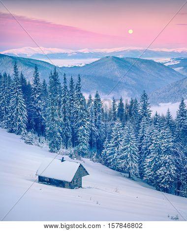 Rising Moon Above Gorgany Ridge In Winter Carpathian Mountains.