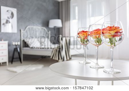 Decoration With Roses And Glasses