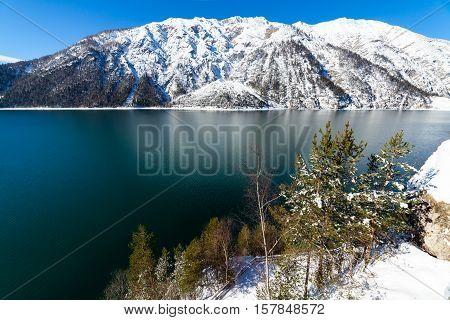 Mountain lake snow landscape in the Alps Austria Achensee Tirol.