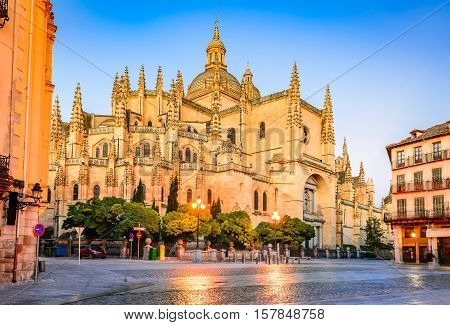 Segovia Spain. Gothic-style Roman Catholic cathedral located in the main square Plaza Mayor. Castilla y Leon
