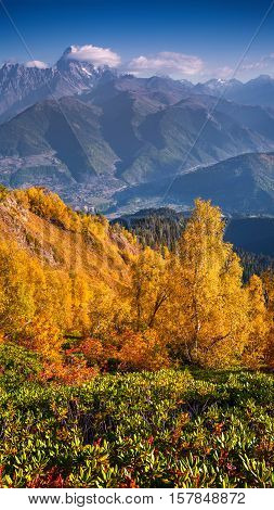 Colorful Autumn Morning In The Caucasus Mountains