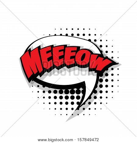 Lettering meow. Comic text sound effects pop art style vector. Sound bubble speech phrase comic text cartoon expression sounds illustration. Comic text background template
