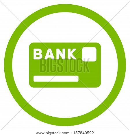 Bank Card vector rounded icon. Image style is a flat icon symbol inside a circle, eco green color, white background.