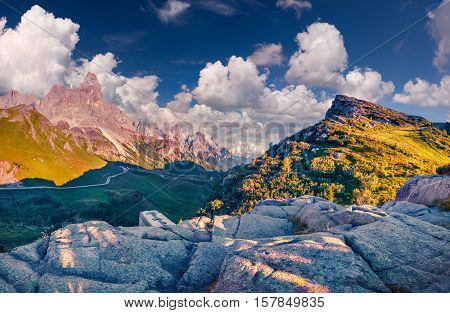 Panoramic Views Of The Pale Di San Martino From Passo Rolle