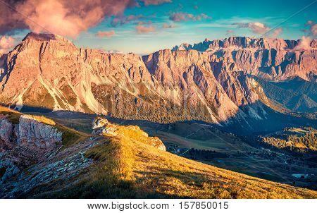 Colorful Autumn Evening On Pizes De Cir Ridge