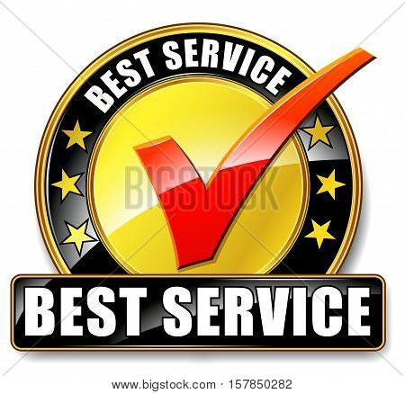 Illustration of best service icon on white background