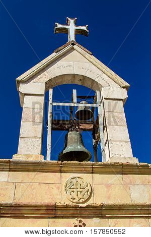 JERUSALEM ISRAEL - APRIL 4: The Armenian Belfry of Tomb of the Virgin Mary near the Garden of Gethsemane at the foot of Mount of Olives in Jerusalem Israel on April 4 2015