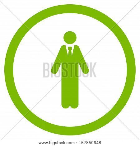 Clerk vector rounded icon. Image style is a flat icon symbol inside a circle, eco green color, white background.