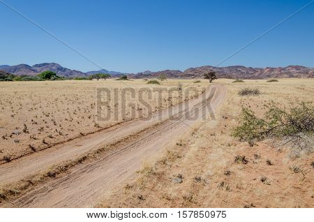 Sandy desert track leading through arid landscape towards rocky hills on the horizon, Namib Desert, Angola