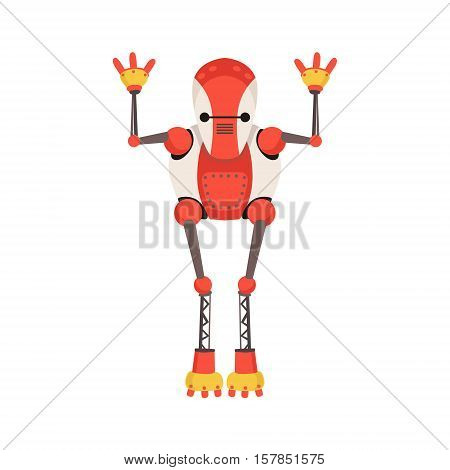 Red And White Android Robot Character With Thin Extremities Vector Cartoon Illustration. Futuristic Bionic Person Portrait In Childish Manner, Part Of Fantasy Droids Collection.
