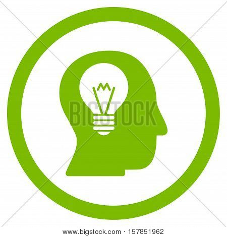 Intellect Bulb vector rounded icon. Image style is a flat icon symbol inside a circle, eco green color, white background.
