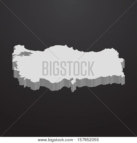 Turkey map in gray on a black background 3d
