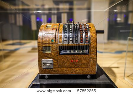 Milan, Italy - June 9, 2016: Retro Cash Register At The Science And Technology Museum Leonardo Da Vi