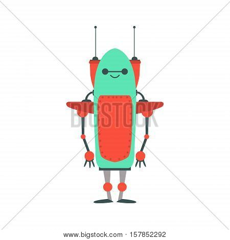 Red And Green Friendly Android Robot With Two Antennas Character Vector Cartoon Illustration. Futuristic Bionic Person Portrait In Childish Manner, Part Of Fantasy Droids Collection.