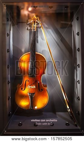 MILAN ITALY - JUNE 9 2016: antique violin at the Science and Technology Museum Leonardo da Vinci