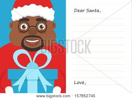Letter Dear santa claus for Merry Christmas or New year. Cute afroamerican male.Postcard or greeting card template. Flat.