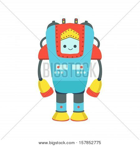 Blue And Red Giant Friendly Android Robot Character Vector Cartoon Illustration. Futuristic Bionic Person Portrait In Childish Manner, Part Of Fantasy Droids Collection.
