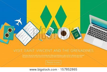 Visit Saint Vincent And The Grenadines Concept For Your Web Banner Or Print Materials. Top View Of A