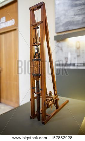 MILAN ITALY - JUNE 9 2016: pole hammer models of Leonardo da Vinci's scientific studies displayed at the Science and Technology Museum Leonardo da Vinci