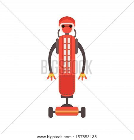 Red Friendly Android Robot Character On Wheeled Platform Vector Cartoon Illustration. Futuristic Bionic Person Portrait In Childish Manner, Part Of Fantasy Droids Collection.