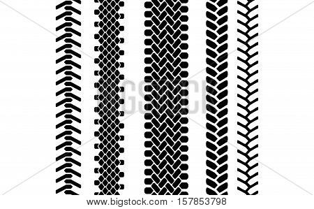 Black and white tire tread protector track seamless pattern, vector borders set