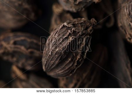 Seed Of Black Cardamom. Blurred Background