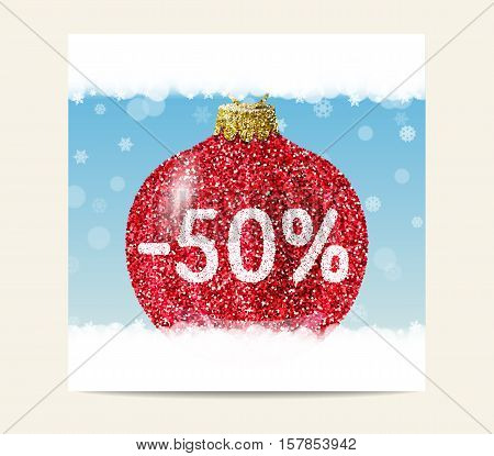 Red christmas ball on blue background with snowflakes. Christmas and New Year sale. 50% special offer. Flyer template. Promotion poster and banner. Glitter sequins texture. Vector EPS10 illustration.