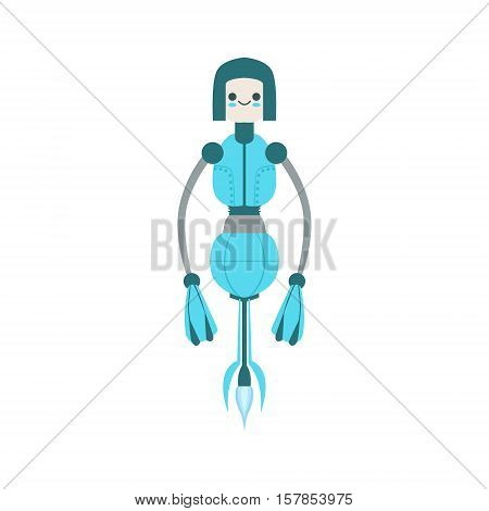 Thin Blue Floating Mid Air Friendly Android Robot Character Vector Cartoon Illustration. Futuristic Bionic Person Portrait In Childish Manner, Part Of Fantasy Droids Collection.
