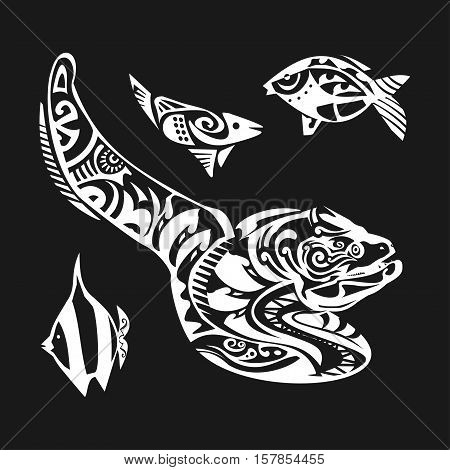 Moray tattoo in Maori style on a white background. Vector illustration EPS10