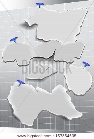 Rectangular grid with torn paper notepads and drawing pins. Torn paper banners resembling map with blue thumbtacks