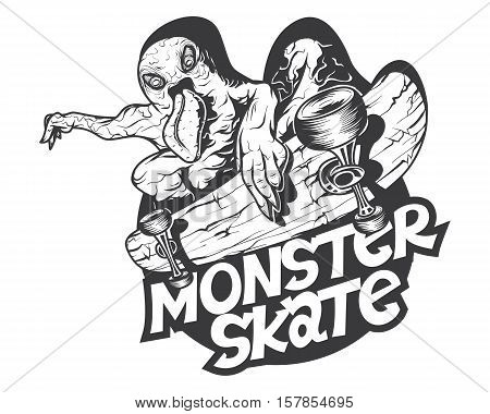 Monster riding skate, t-shirt print mascot logo Radical Crazy Sport SK8
