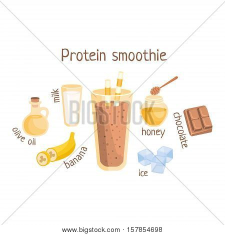 Protein Smoothie Infographic Recipe With Needed Ingredients And Finished Mixed Non-Alcoholic Cocktail Drink In The Middle Cartoon Vector Illustration.Healthy Diet Blended Fresh Smoothie In A Glass With A Straw Preparation Info Drawing.