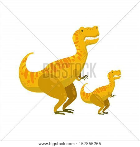 Tirannosaurus Rex Dinosaur Prehistoric Monster Couple Of Similar Specimen Big And Small Cartoon Vector Illustration. Part Of Jurassic Reptiles Species Collection Of Childish Drawings.