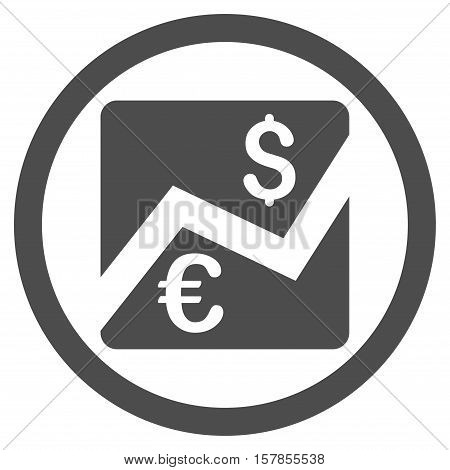 Euro Dollar Chart vector rounded icon. Image style is a flat icon symbol inside a circle, gray color, white background.