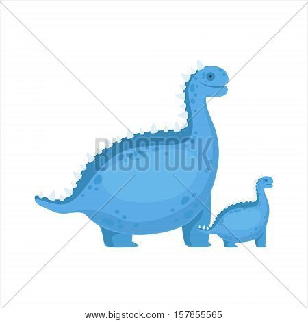 Chubby Blue Iguanodon Dinosaur Prehistoric Monster Couple Of Similar Specimen Big And Small Cartoon Vector Illustration. Part Of Jurassic Reptiles Species Collection Of Childish Drawings.