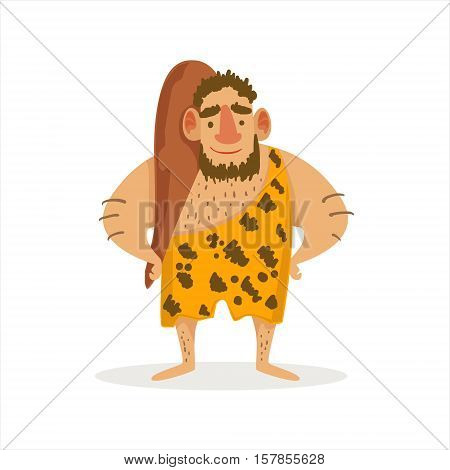 Man With A Cudgel Cartoon Illustration Of First Homo Sapiens Troglodyte In Animal Pelt Living In Stone Age. Part Of Prehistoric Neanderthal Caveman And Their Historical Surroundings Collection Of Vector Drawings.