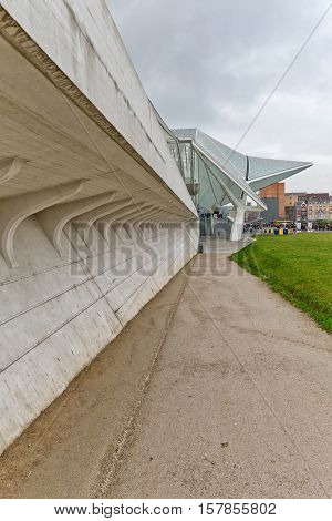 LIEGE BELGIUM - December 2014: Side view of the Liege-Guillemins railway station designed by Santiago Calatrava.