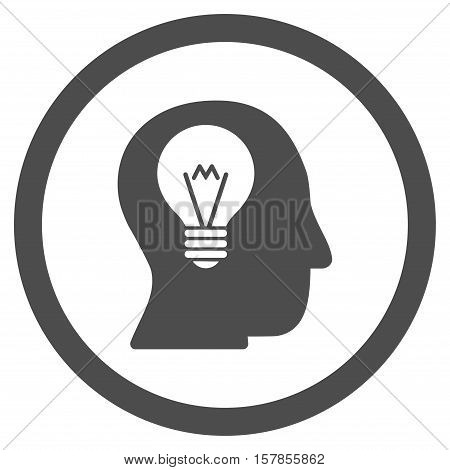 Intellect Bulb vector rounded icon. Image style is a flat icon symbol inside a circle, gray color, white background.