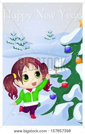 Cute anime chibi little girl trying to take candy. Merry Christmas and Happy New year greeting card. Christmas card in cartoon style. Vector illustration. New Year Collection.