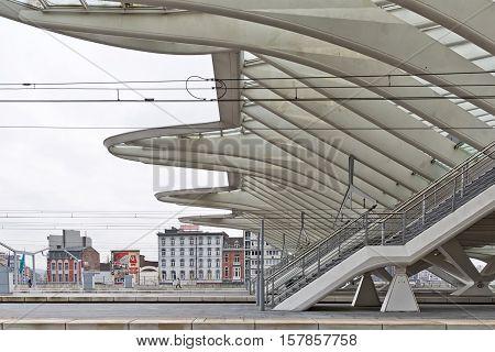 LIEGE BELGIUM - December 2014: Detailed roof of the Liege-Guillemins railway station designed by Santiago Calatrava.