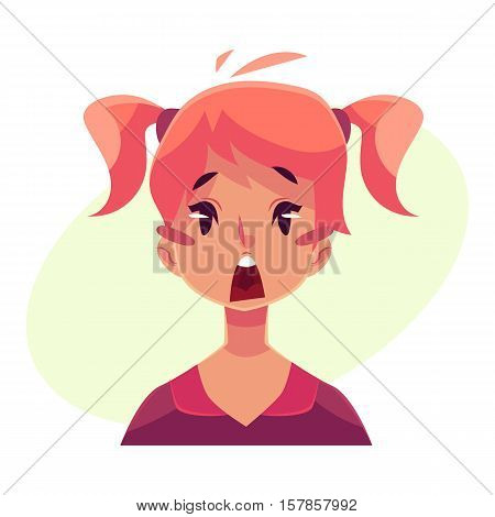 Teen girl face, surprised facial expression, cartoon vector illustrations isolated on yellow background. Red-haired girl emoji surprised, shocked, amazed, astonished. Surprised face expression