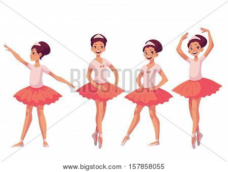 Graceful pretty young ballerina in pink tutu, cartoon style vector illustrations isolated on white background. Little ballet dancer in pink tutu in various poses of classical ballet