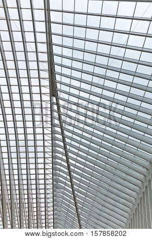 LIEGE BELGIUM - December 2014: Abstract view on the roof of the Liege-Guillemins railway station designed by Santiago Calatrava.