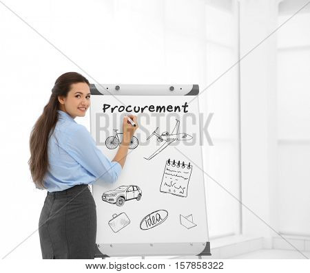 Business trainer near flipchart at conference. Business and procurement concept.