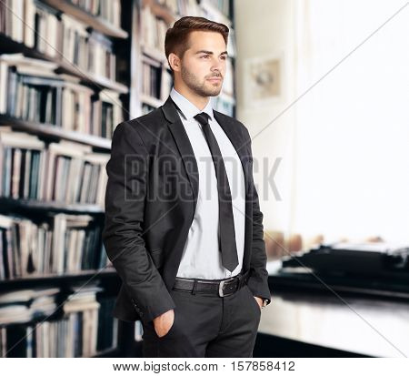 Young man at office. Law and justice concept.