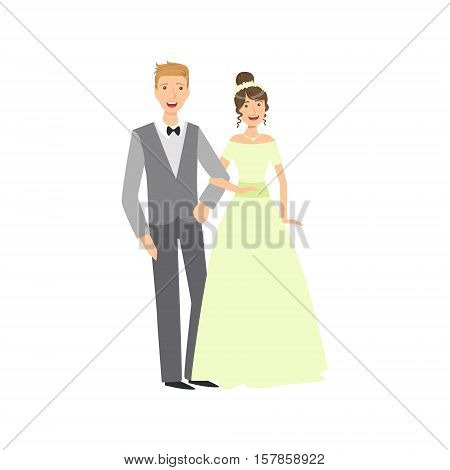 Bride And Groom Newlywed Couple In Traditional Greenish Wedding Dress And Suit Smiling And Posing For Photo. Happy Young Couple On A Wedding Day In Classic Clothing Vector Illustration.