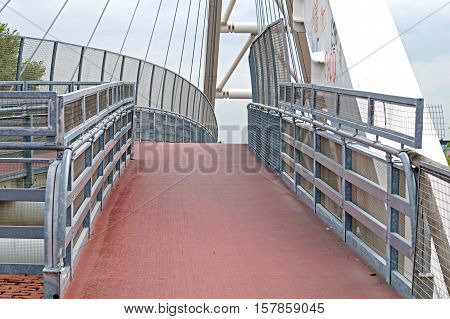 Pedestrian Transition Over The Highway In The Modern Bridge