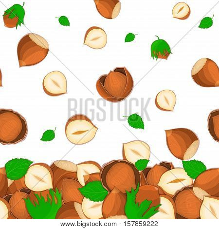 Vector illustration of falling hazelnut nuts. Background of a nut. Pattern of a walnut fruit in the shell, whole, shelled, leaves appetizing looking for packaging design of healthy food