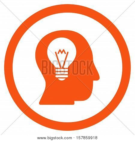 Intellect Bulb vector rounded icon. Image style is a flat icon symbol inside a circle, orange color, white background.