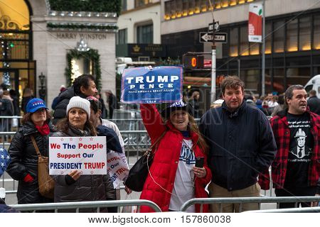 New York, United States of America - November 20, 2016: A group of Donald Trump supporters on 5th avenue in front of the Trump Tower in Manhattan